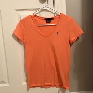 Orange Ralph Lauren V-Neck Top